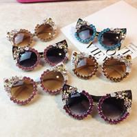 Cat Eye Außen Retro Strass Blume Frauen Handgemachte Sonnenbrille Großhandel Fashion Party Big Marke Sun Glasses