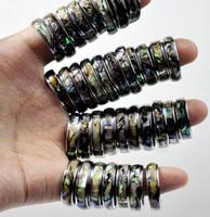Hurtownie 50 sztuk 6mm Abalone Powłoki Zespół Ze Stali Nierdzewnej Pierścienie Moda Biżuteria Letni Pierścień Dla Mężczyzna Kobiety Lasowe Lodziały