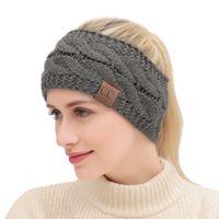 Женщины CC Hairband Красочной Вязаного крючок Twist оголовье зима ухо грелка эластичная лента для волос Аксессуары для волос Широких