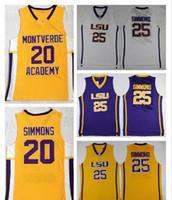 NCAA LSU 호랑이 대학 벤 SIMMONSEY 고등학교 MONTVERDE 아카데미 이스네스 벤 SIMMONSE JERSEAY 농구 Sticthed White Yellow Purple