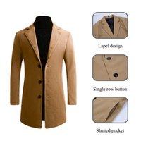 OLOME 2019 зимние куртки ветровка пальто мужчины бленды осень высокое качество шерсти длинное пальто Slim Fit мужская повседневная твердые пальто