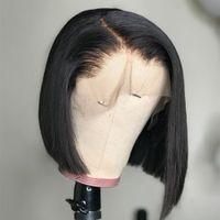 Kısa Künt Kesim Bob Peruk Düz Dantel Ön İnsan Saç Peruk Siyah Kadınlar Için Dantel Peruk Remy 13x4 Frontal Peruk