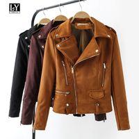 Ly Varey Lin мягкая искусственная кожа замша куртка женщины короткие пальто молния эполет заклепки женский отложным воротником черный панк верхняя одежда