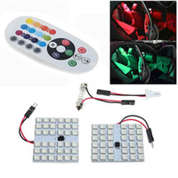 RGB 5050 12 15 24 36smd Panel LED Dome Light Auto control remoto Led Lámpara colorida DC 12V Con T10 adorno adaptadores