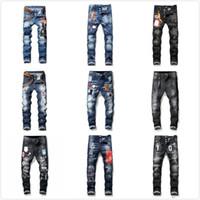 dsquared2 DSQ D2 DSQUARED2 mens jeans denim calças pretas rasgadas melhor versão magro quebrado H2 Itália bicicleta marca renascimento motocicleta rocha