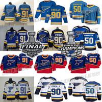 세인트 루이스 블루스 저지 2019 스탠리 컵 챔피언스 빈티지 90 Ryan O'Reilly 91 Vladimir Tarasenko 50 Binnington 99 Wayne Gretzky 47 Torey Krug Hockey Jerseys