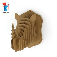 Diy 3d cartón Animal Puzzle Game Assembly Juguete Decoración de regalo rompecabezas Colgante de pared Rhino Cabeza Decoración