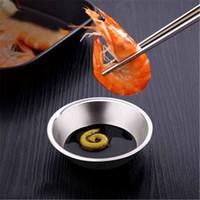 Platos de cena pequeños de acero inoxidable Sushi japonés Cocina coreana Platos de condimentos Salsa de soja Salsa de chile Plato de ketchup cyq024