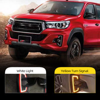 2ST LED Tagfahrlicht für Toyota Hilux Revo Rocco 2018 2019 vergilben Signal-Relais Auto 12V LED DRL Daylight