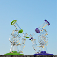 Newest Double Recycler Dab Rig Sidecar Glass Unique Bongs Sl...