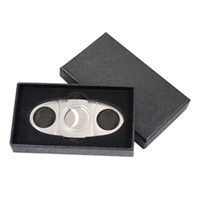 Pocket Stainless Steel Cigar Knife Portable tobacco Cigar Cutter scissors with black gift box double blades cigar tools best Christmas Gift