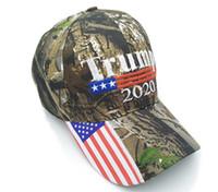 2020 Brand New Donald Trump Hut USA-Flagge Baseballmütze Keep America Großer Hut 3D-Stickerei Stern Brief Camo einstellbare Hysterese