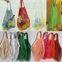 Мода Строка Покупки Фрукты Овощи Бакалея сумка Shopper Tote сеть сетка тканый хлопок мешок плечо руки многоразовых сумки бакалеи WX9-365