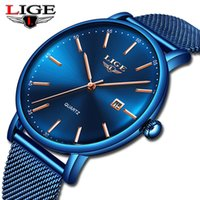 LIGE New Mens Watches Top  Sports Watch Slim Mesh Date Waterproof Quartz Watch For Men Blue Clock Relogio Masculino