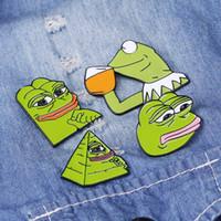 4 stili rana Pepe smalto Pins divertente Espressione del viso regalo gioielli spilla risvolto Spille Pop Culture Pins rana per gli amici