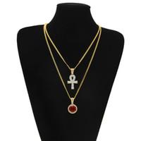 Ankh egiziano chiave della vita bling ciondolo croce di strass ghiacciato con strass collana pendente set moda uomo gioielli hip-hop all'ingrosso