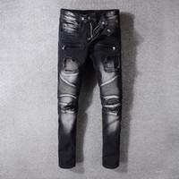 Mens Pleated Skinny Black Jeans 패션 디자이너 패치 찢어진 폴드 패널 지퍼 슬림 피트 오토바이 바이커 힙합 데님 바지 1053
