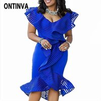 Women Blue Bodycon Dress Sexy Deep V Neck Fashion Ruffle Tul...