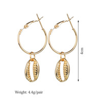 Vintage summer style alloy shell drop earrings gold silver p...