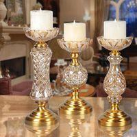 Table Artical bougeoirs dîner romantique Table De Mariage Décor À La Maison chandeliers pétale-Type bougeoir sculpté alliage base D'ameublement