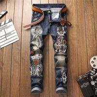 Mens Blue Denim Jeans Rasgado Bordado Masculino Slim Fit Skinny Calças Lápis Calças Casuais Calças Elásticas