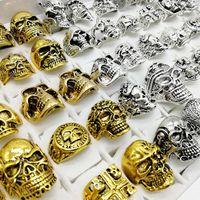 Moda estilo punk 30 pçs / lote skull rings banda prata ouro esqueleto grande tamanhos homens homens de festa de jóias de metal