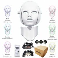 Новые 7 цветов Светодиодная маска для лица с омоложением из шеи Омолаживание против угрейной морщин. Лечение красоты Корейский фотонотерапии Салон для дома