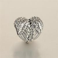 VRAI 925 Perles de plumes angéliques en argent sterling Content pour bracelet de charmes originaux pour les bijoux de la mode Femmes