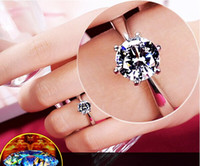 Classic Designer Six Claw Silver Color Ring Austria Crystal diamond Wedding Ring for Bridal Christmas Gift for Women Jewelry Engagement Ring