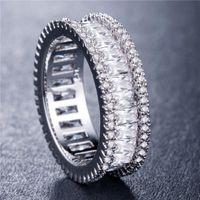 2020 Nuova Baguette CZ Eternity Eternity Trendy Engagement Stack di nozze anelli per le donne Irregulari Rame intarsiato zirconi anelli gioielli di San Valentino