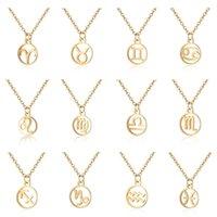 Знак зодиака кулон ожерелье для женщин позолоченный Гороскоп Овен Лев 12 созвездий мода нержавеющая сталь звездная цепь мужчины ювелирные изделия подарок
