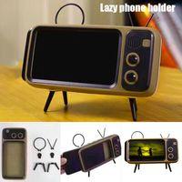 Preguiçoso Phone Holder Mini Bluetooth Áudio Retro TV Mobile Phone Suporte 3W Sem Speaker Estilo Móveis telefone titulares