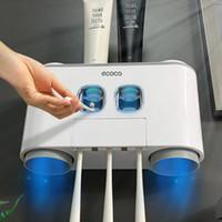 Auto Zahnpastaspender Zahnbürstenhalter Set mit 4 Cup für Badezimmer Zubehör Home Wandhalterung Zahnpasta Presse