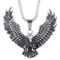 Vintage Animal Eagle Pendant Necklace Silver Gold Chain Neck...