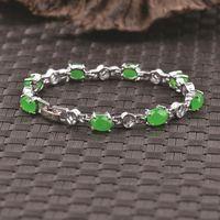 Kadınlar için 925 gümüş Doğal yeşil taş kakma gümüş bilezikler / femme