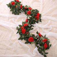 2PC 240cm rosas de seda vid de la hiedra con hojas verdes para la decoración de la boda de la hoja de bricolaje Home falso que cuelgan de la guirnalda de las flores artificiales