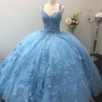 Céu claro Azul Quinceanera Vestida Amazing 3D Lace Appliques Mão Feito à Mão com Beads Ball Ball Doce 16 Vestidos Promovers