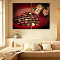 Без рамы 2 шт./Комплект подарок шоколадные картины Валентина сладко холст стены художественная печать плакат домашнего декора HD печать