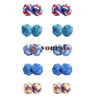 Yoursfs Hommes et Femmes Boutons de manchette à nœuds de soie 5 paires de chemises de bijoux vintage unique boîte cadeau
