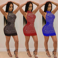 Sexy Club Evening Sequined Dresses Women Halter Backless Sli...