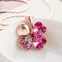 Vier Kleeblatt Halsketten Anhänger Herz Kristall von Swarovski Elements Gold Farbe Vintage Modeschmuck Für Frauen