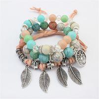 Arbre de vie Bracelets feuilles Pendentifs Charms Jewlery pour fille Bracelet Perles de verre de Bohème Vintage Femmes Multilayer Bijoux gainé de cuir Brins