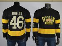 Barato Boston Boston Bruins jerseys 46 David Krejci jersey costurou alta qualidade de hóquei de gelo jersey preto