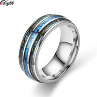 8mm Silver Steel Carbide Ring Blue Fire Opal & Shell Inlay For Men Women Wedding Engagement Ring Bague Homme
