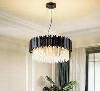 현대 세련된 크리스탈 샹들리에 검은 둥근 LED 펜 던 트 조명 램프 거실 침실 조명 빌라 거실 식당 식당 레스토랑