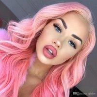 Parrucche rosa dei capelli umani parrucca Pre a pizzico con il bambino vergine brasiliana dei capelli piena del merletto di Glueless Rosa anteriore del pizzo dritto parrucche per le donne nere
