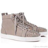Gli uomini in pelle scamosciata beige Fashion Low-top Junior Spikes Orlato piatto di pelle di pecora in pelle di vitello Italia Luxe mano Spiked Flats Shoes Coppia Trainer