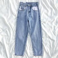 Calças de brim das mulheres luz azul cintura alta bolso design magro reta denim calças jeans