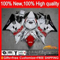 Kropp oem för yamaha yzf r 6 600cc yzf 600 yzf-600 06-07 ram 61hc.23 yzf-r6 yzf600 yzf r6 yzfr6 06 07 2006 2007 Fairing Kit Red White Hot