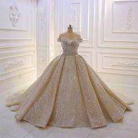 Luxus Champagner Kristall Ballkleid Brautkleider Schulterfrei Brautkleider Shiny Strass Dubai Saudi Arabisch Plus Size
